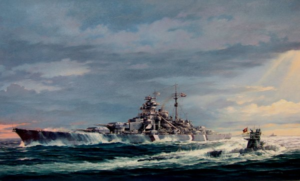 Bismarck and U-556 Painting by Marii Chernev