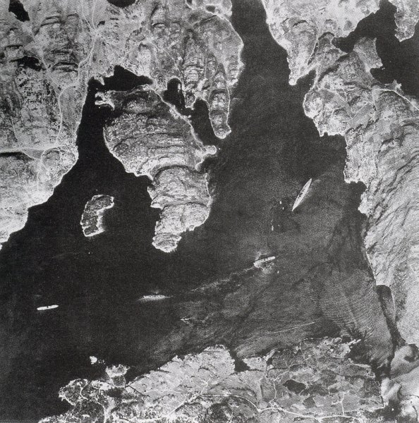 Bismarck anchored in the Grimstadfjord