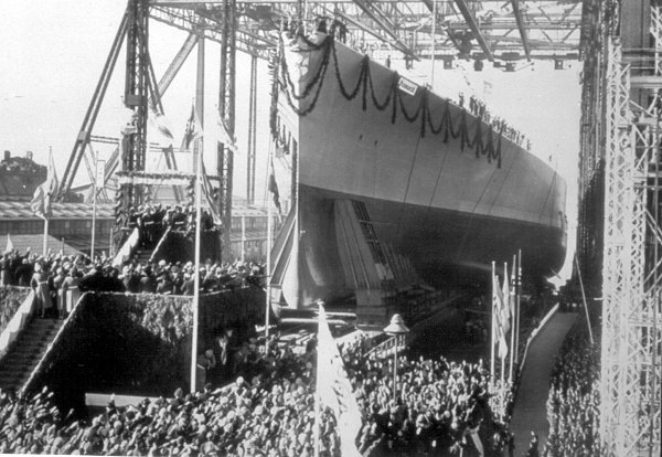 Launching of the battleship Bismarck