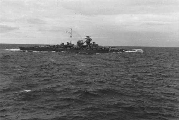 Bismarck down by the bow