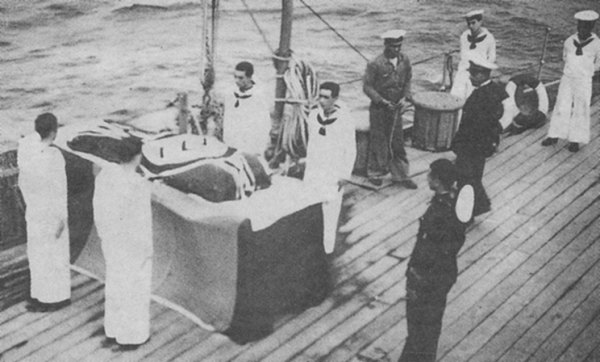 Ceremony aboard the Spanish heavy cruiser Canarias
